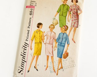 Vintage 1960s Womens Junior Size 13 Skirt and Jacket Simplicity Sewing Pattern 4859 Complete / bust 33 waist 25.5