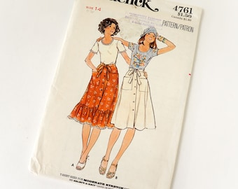 Vintage 1970s Womens Size 14 Fitted T-Shirt and Boho Skirt Butterick Sewing Pattern 4761 FACTORY Folds / bust 36 waist 28