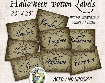 Vintage Style Halloween Potion Labels, Printable Apothecary Labels, Instant Digital Download, Halloween Clip Art, Witch Collage Sheet