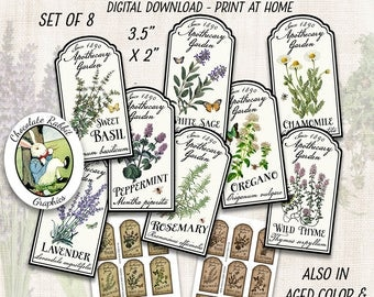 Herb Garden Labels, Printable Apothecary Labels, Vintage Style Kitchen Labels, Digital Herb Clip Art, Kitchen Printable