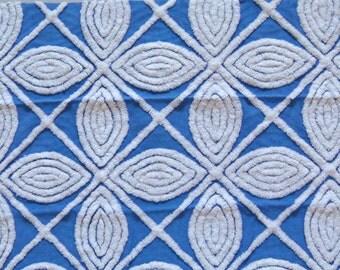 Rare Hofmann Royal Blue Geometric Plush Vintage Cotton Chenille Bedspread Fabric 18 x 24 Inches