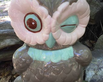 Owl, cookie jar, kitchen canister, taupe, mint, pink, chocolate, kitchen storage, treat jar, handmade