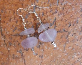 Amethyst earrings - water worn crystal jewelry -  matt purple stone - handcrafted in Australia - purple gem stone jewelry