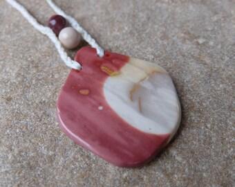 Reversible large Mookaite jewelry - natural gem stone necklace. Australian macrame jewellery - feminine sooothing