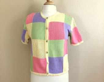 Vintage PASTEL Pattern Button Shirt / Christopher & Banks / Knit Top / Womens Size Medium Large
