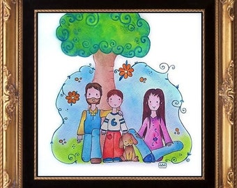 Custom Personalized Watercolor Cartoon Family Portrait  Couple Anniversary, For Him, For Her, Friends,  Baby Birth Present Ooak Gift