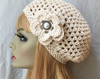 Cotton crochet Beret, Womens Hat, Ecru, Natural, Off White, Flower, Pick Color, Teens, Birthday Gifts, Gifts for Her, JE444BE2