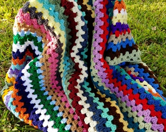 Vintage Look Bohemian Crochet Afghan - Large and One of a Kind