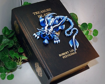 Ooak Polymer Clay Blue Sad Little Dragon Sculpture on Old World Style Book Box #808 Home Decor & Storage
