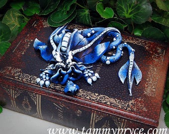 Ooak Polymer Clay Blue Sad Little Dragon Sculpture on Old World Style Book Box #810 Fantasy Home Decor and Storage