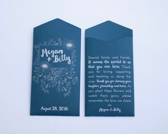 Navy Blue Floral Custom Seed Packet Wedding Favors - Personalized Seed Packet Wedding Favor - Wildflower Seed Packet - Many Colors Available