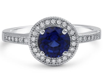 2.50ctw Round Cut Synthetic Sapphire With Natural Diamonds Engagement Ring SA4100