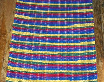 One of a Kind Handwoven Rag Rug Runner - Bright Crayon Colors - Inv. ID #01-0271