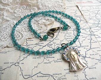 petite religious assemblage necklace beaded classic timeless virgin Mary medal blue teal
