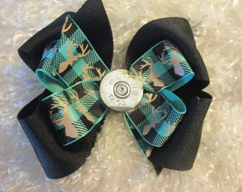Winchester Hair Bow, Browning Deer Hairbow, Teal and  Black Hair Bow, Browning Hair Bow, Hunting Princess Hair Bow, Deer Boutique  Bow, camo