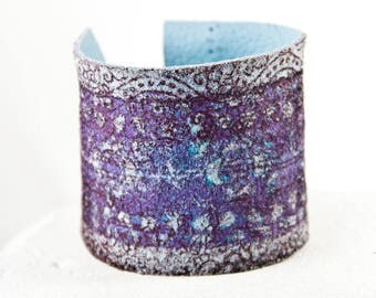 Tattoo Cover Wrist Cuff - Leather Jewelry Purple Bracelet