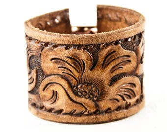 Western Jewelry Tooled Leather Cowboy Bracelet