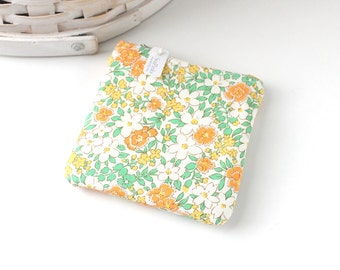 Pretty Orange and Yellow Floral Coin Purse Floral Change Purse Floral Gift Card Holder