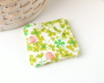 Pink and Green Floral Coin Purse Floral Change Purse Floral Gift Card Holder