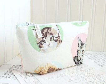 Cute Kitties Cosmetic Bag Makeup Bag Floral Zipper Pouch Organizer Modern Pastel Print