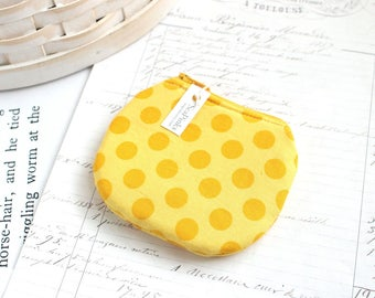 Small Yellow Polka Dot Coin Purse Yellow Change Purse Cute Zippy Pouch