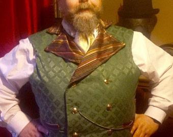 "Steampunk Sweeny Todd  Waistcoat Green Brocade XL -48""to 55"""
