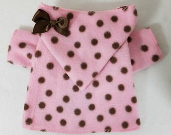 Pink Brown Dots Dog Hoodie Coat by Doogie Couture Size XXXS through Medium