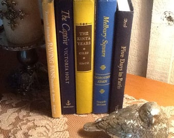 Blue and gold book collection, vinrtage, weddings, display,  photo shoot
