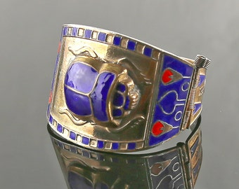 Vintage Egyptian Revival Hinged Bracelet - Early Costume Jewelry