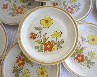 Vintage Sunshine Flowers Hearthside Stoneware Garden Festival  Salad Dessert Plates made in Japan