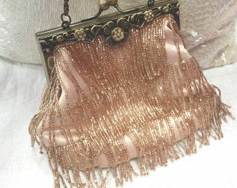 wedding bag, bridal bag, retro wedding, 90s does 20s, 20s wedding, fringed beaded bag, bronze beaded bag, 20s costume