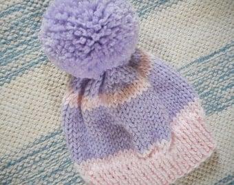 Newborn Baby Hat/Infant Cap/Hand Knit Baby Hat/Newborn Knit Hat/ Lavender and Pink Baby Hat/Newborn Beanie/Knitted Beanie