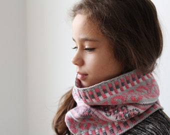Knit Cowl, Fair Isle Neck Warmer, One size, Grey and Pink