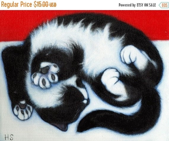 HOLIDAY SALE Tuxedo Cat art print . Paws.