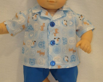"""15"""" Baby Doll Clothes/Puppies/2 piece Shirt & Shorts/Made to fit 15"""" Bitty Baby Boy/READY TO SHIP"""