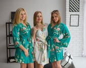Premium Teal Green Bridesmaids Robes - Dreamy Angel Song Pattern - Soft Rayon Fabric - Better Design - Perfect as getting ready robes