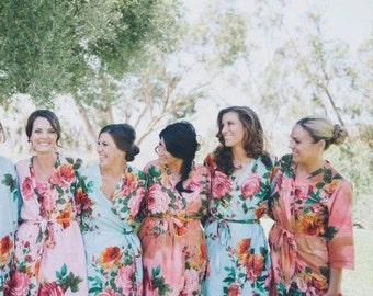 Pink, Coral and Light Blue Wedding Color Bridesmaids Robes