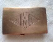 Antique Victorian 10k Gold Monogram Belt Buckle Small Size Marked 1916 1917
