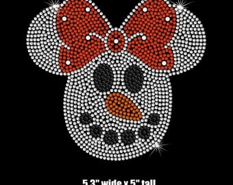 """5.3"""" Minnie Mouse Snowman iron on rhinestone Disney Christmas TRANSFER for toddlers"""