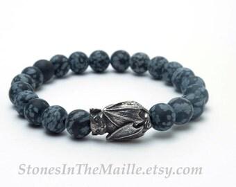 Matte Snowflake Obsidian Stretch Bracelet with Green Girl Studio Pewter Bat Bead