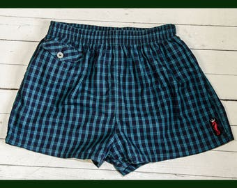 Vintage 1950's Men's Blue Plaid Surf King Swim Suit Trunks