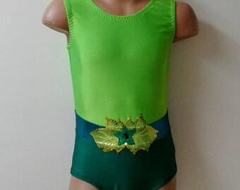 Poison Ivy Inspired Leotard. Toddlers Girls Gymnastics Leotard. Performance Poison Ivy Costume. Dancewear.  Size 2T - Girls 12