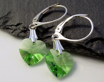 Green earrings, swarovski earrings, green heart earrings, leverback earrings, peridot