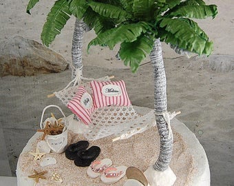 """BEACH WEDDING TOPPER No Base Fits 5"""" Cake Top Rustic Honeymoon Hammock Set Custom Made To Order Your Colors Personalized Sea Shell Pail/More"""