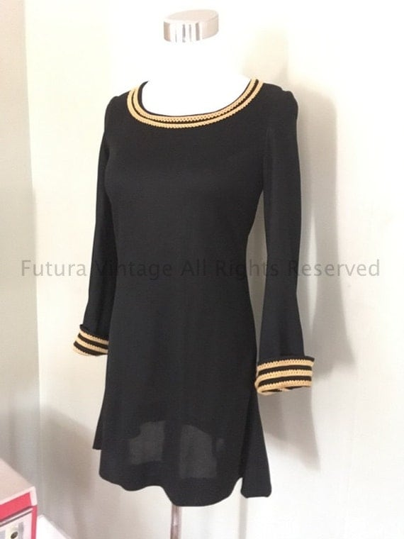 1960s Fabulous Mod YOUNG EDWARDIAN by Arpeja Black Mini Dress with Gold Trim-XS S