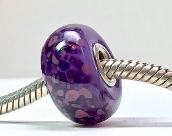 Large hole lampwork european charm bracelet bead, violet purples big hole beads, handmade lampwork big bead, silver core beads paulbead