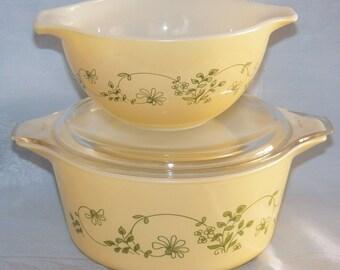 Vintage Pyrex Yellow Shenandoah #474-B Casserole w/Lid & #441 Mixing Bowl
