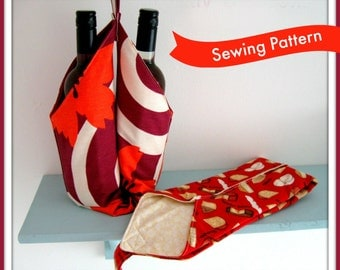 Twin Bottle Carrier Sewing Pattern by Lillyblossom. Fits wine, cordial or oil bottles. Very easy to make, suitable for beginners. Great gift