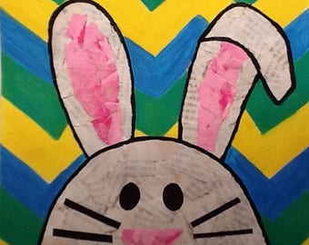 Easter bunny mixed media print