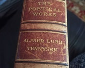 The Poetical works of Alfred Lord Tennyson 1898 hardcover book marbled paper